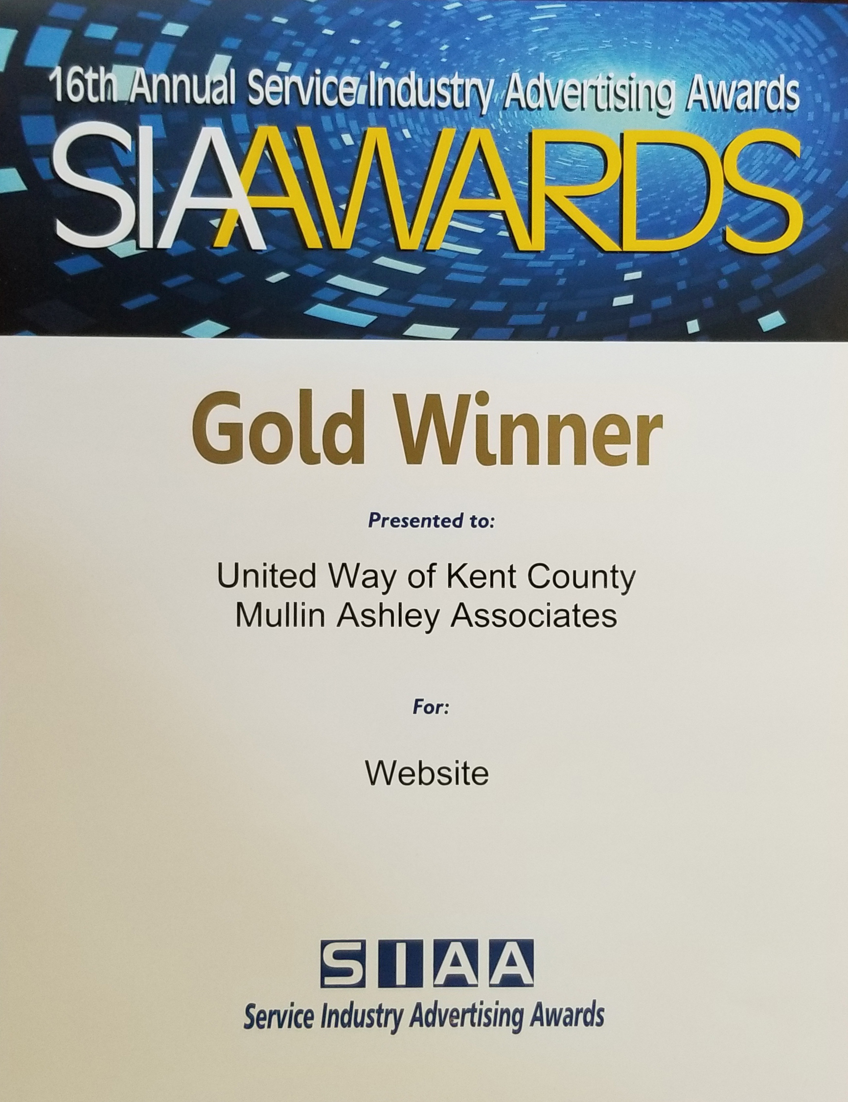 UNITED WAY OF KENT COUNTY'S WEBSITE WINS TWO NATIONAL MARKETING COMMUNICATIONS AWARDS